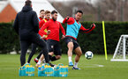 SOUTHAMPTON, ENGLAND - MARCH 05: Charlie Austin(L) and Maya Yoshida during a Southampton FC training session at the Staplewood Campus on March 05, 2019 in Southampton, England. (Photo by Matt Watson/Southampton FC via Getty Images)