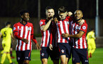 SOUTHAMPTON, ENGLAND - MARCH 06: Will Smallbone (centre-right) scores and celebrates from the penalty spot for Southampton FC during the U23's International Cup match between Southampton FC vs Villarreal pictured at Staplewood Complex on March 06, 2019 in Southampton, England. (Photo by James Bridle - Southampton FC/Southampton FC via Getty Images)