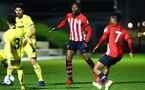 SOUTHAMPTON, ENGLAND - MARCH 06: Dan Nlundulu (middle) during the U23's International Cup match between Southampton FC vs Villarreal pictured at Staplewood Complex on March 06, 2019 in Southampton, England. (Photo by James Bridle - Southampton FC/Southampton FC via Getty Images)