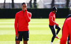 SOUTHAMPTON, ENGLAND - MARCH 07:  Yan Valery (left) during a Southampton FC training session pictured at Staplewood Complex on March 07, 2019 in Southampton, England. (Photo by James Bridle - Southampton FC/Southampton FC via Getty Images)