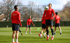 SOUTHAMPTON, ENGLAND - MARCH 07:  LtoR Shane Long, Yan Valery during a Southampton FC training session pictured at Staplewood Complex on March 07, 2019 in Southampton, England. (Photo by James Bridle - Southampton FC/Southampton FC via Getty Images)