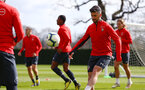 SOUTHAMPTON, ENGLAND - MARCH 07:  Shane Long (right) during a Southampton FC training session pictured at Staplewood Complex on March 07, 2019 in Southampton, England. (Photo by James Bridle - Southampton FC/Southampton FC via Getty Images)