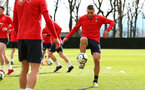 SOUTHAMPTON, ENGLAND - MARCH 07:  Oriol Romeu (right) during a Southampton FC training session pictured at Staplewood Complex on March 07, 2019 in Southampton, England. (Photo by James Bridle - Southampton FC/Southampton FC via Getty Images)