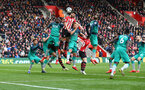 SOUTHAMPTON, ENGLAND - MARCH 09: Shane Long of Southampton jumps highest during the Premier League match between Southampton FC and Tottenham Hotspur at St Mary's Stadium on March 09, 2019 in Southampton, United Kingdom. (Photo by Matt Watson/Southampton FC via Getty Images)