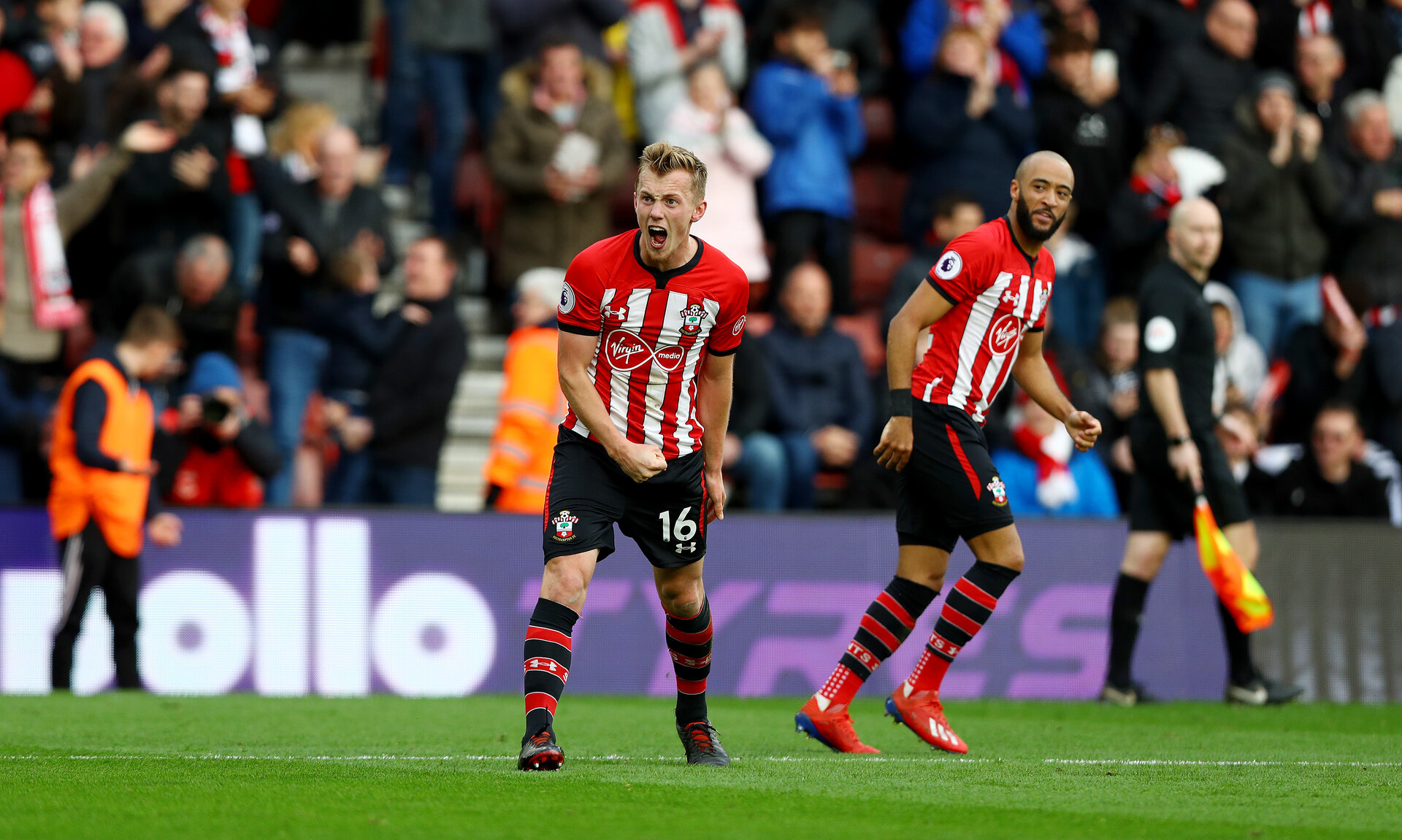 SOUTHAMPTON, ENGLAND - MARCH 09: James Ward-Prowse of Southampton celebrates after putting his side 2-1 upduring the Premier League match between Southampton FC and Tottenham Hotspur at St Mary's Stadium on March 09, 2019 in Southampton, United Kingdom. (Photo by Matt Watson/Southampton FC via Getty Images)
