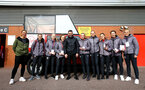 SOUTHAMPTON, ENGLAND - MARCH 09: Southampton FC women's team with Francis Benali (middle)  during the Premier League match between Southampton FC and Tottenham Hotspur at St Mary's Stadium on March 09, 2019 in Southampton, United Kingdom. (Photo by James Bridle - Southampton FC/Southampton FC via Getty Images)