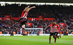SOUTHAMPTON, ENGLAND - MARCH 09:  James Ward-Prowse of Southampton celebrates (left) after scoring during the Premier League match between Southampton FC and Tottenham Hotspur at St Mary's Stadium on March 09, 2019 in Southampton, United Kingdom. (Photo by James Bridle - Southampton FC/Southampton FC via Getty Images)