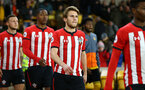 WOLVERHAMPTON, ENGLAND - MARCH 05:  Jake Vokins (middle) ahead of during the PL2 U23's match between Wolverhampton Wanders and Southampton FC at Molineux Stadium in Wolverhampton, England, on March 05, 2019 (Photo by James Bridle - Southampton FC/Southampton FC via Getty Images)