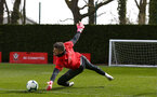 SOUTHAMPTON, ENGLAND - MARCH 13: Fraser Forster makes a save during a Southampton FC training session at Staplewood Complex on March 13, 2019 in Southampton, England. (Photo by James Bridle - Southampton FC/Southampton FC via Getty Images)
