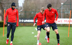 SOUTHAMPTON, ENGLAND - MARCH 13: LtoR Nathan Redmond, Josh Sims, Alfie Jones during a Southampton FC training session at Staplewood Complex on March 18, 2019 in Southampton, England. (Photo by James Bridle - Southampton FC/Southampton FC via Getty Images)