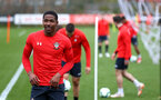SOUTHAMPTON, ENGLAND - MARCH 13: Kayne Ramsay (left) during a Southampton FC training session at Staplewood Complex on March 18, 2019 in Southampton, England. (Photo by James Bridle - Southampton FC/Southampton FC via Getty Images)