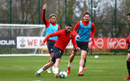 SOUTHAMPTON, ENGLAND - MARCH 13: Charlie Austin (middle) during a Southampton FC training session at Staplewood Complex on March 18, 2019 in Southampton, England. (Photo by James Bridle - Southampton FC/Southampton FC via Getty Images)