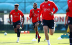 SOUTHAMPTON, ENGLAND - MARCH 27: Mario Lemina(L) and Nathan Redmond  during a Southampton FC training session at the Staplewood Campus on March 27, 2019 in Southampton, England. (Photo by Matt Watson/Southampton FC via Getty Images)