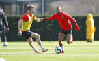 SOUTHAMPTON, ENGLAND - MARCH 27: Stuart Armstrong(L) and Nathan Redmond during a Southampton FC training session at the Staplewood Campus on March 27, 2019 in Southampton, England. (Photo by Matt Watson/Southampton FC via Getty Images)