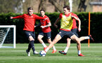 SOUTHAMPTON, ENGLAND - MARCH 27: Callum Slattery(L) and Sam Gallagher during a Southampton FC training session at the Staplewood Campus on March 27, 2019 in Southampton, England. (Photo by Matt Watson/Southampton FC via Getty Images)