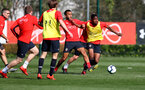 SOUTHAMPTON, ENGLAND - MARCH 27: Ryan Bertrand(L) and Kayne Ramsay during a Southampton FC training session at the Staplewood Campus on March 27, 2019 in Southampton, England. (Photo by Matt Watson/Southampton FC via Getty Images)