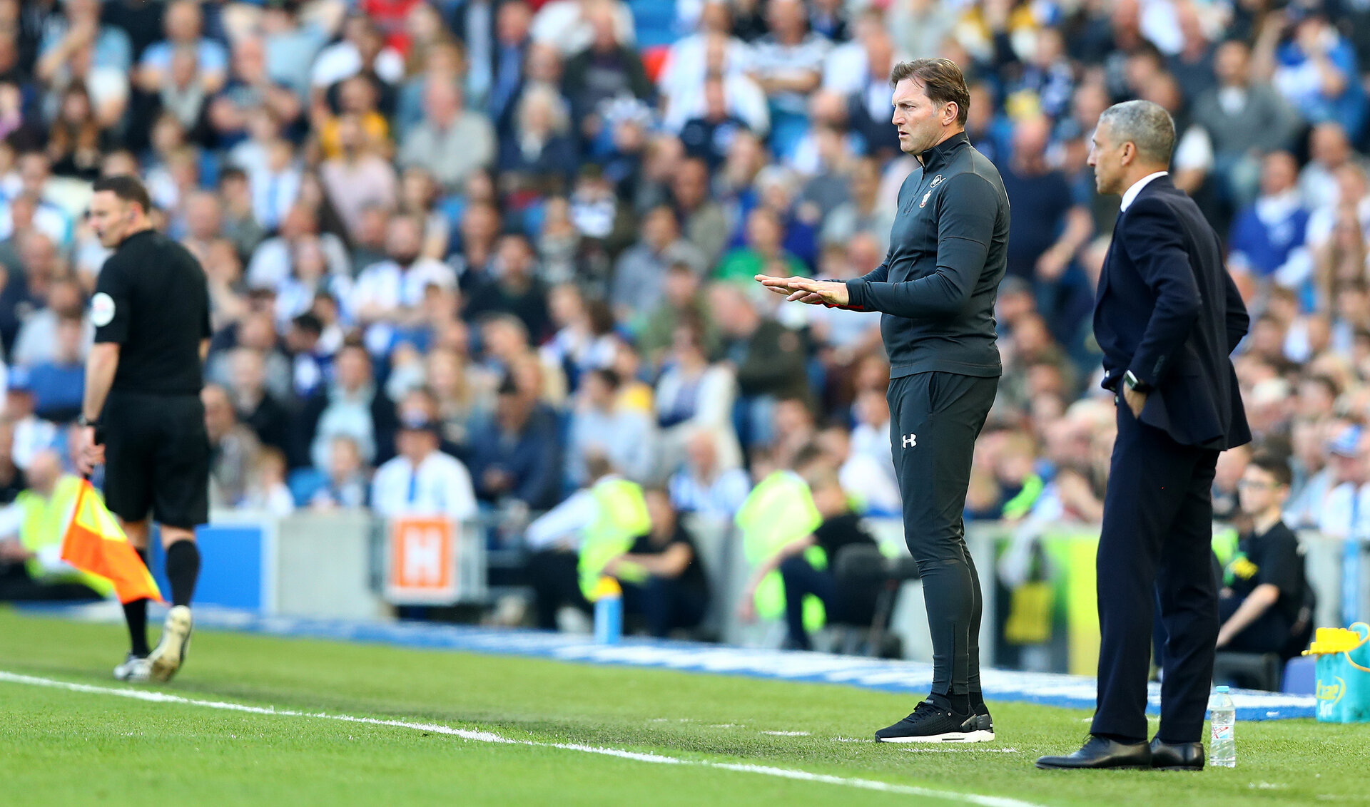 BRIGHTON, ENGLAND - MARCH 30: Ralph Hasenhuttl of Southampton during the Premier League match between Brighton & Hove Albion and Southampton FC at American Express Community Stadium on March 30, 2019 in Brighton, United Kingdom. (Photo by Matt Watson/Southampton FC via Getty Images)