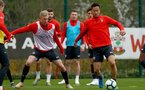 SOUTHAMPTON, ENGLAND - APRIL 02: Christoph Klarer(L) and Maya Yoshida during a Southampton FC training session at the Staplewood Campus on April 02, 2019 in Southampton, England. (Photo by Matt Watson/Southampton FC via Getty Images)