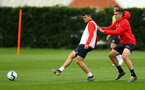 SOUTHAMPTON, ENGLAND - APRIL 02: Mohamed Elyounoussi(L) and Oriol Romeu during a Southampton FC training session at the Staplewood Campus on April 02, 2019 in Southampton, England. (Photo by Matt Watson/Southampton FC via Getty Images)