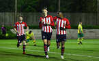 SOUTHAMPTON, ENGLAND - APRIL 05:  Will Smallbone (left) scores and celebrates with Kayne Ramsay  (right) during the U23's PL2 match between Southampton FC and Norwich City pictured at Staplewood Complex on April 05, 2019 in Southampton, England. (Photo by James Bridle - Southampton FC/Southampton FC via Getty Images)