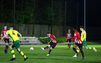 SOUTHAMPTON, ENGLAND - APRIL 05:  Callum Slattery shoots (middle) during the U23's PL2 match between Southampton FC and Norwich City pictured at Staplewood Complex on April 05, 2019 in Southampton, England. (Photo by James Bridle - Southampton FC/Southampton FC via Getty Images)