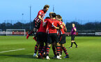 SOUTHAMPTON, ENGLAND - APRIL 05:  Tom O'Connor  scores and celebrates with Alfie Jones, Christoph Klarer, Aaron O'Driscoll, Kayne Ramsay, Jake Vokins during the U23's PL2 match between Southampton FC and Norwich City pictured at Staplewood Complex on April 05, 2019 in Southampton, England. (Photo by James Bridle - Southampton FC/Southampton FC via Getty Images)