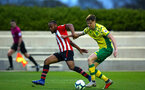 SOUTHAMPTON, ENGLAND - APRIL 05:  Tyreke Johnson (left) during the U23's PL2 match between Southampton FC and Norwich City pictured at Staplewood Complex on April 05, 2019 in Southampton, England. (Photo by James Bridle - Southampton FC/Southampton FC via Getty Images)