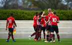 SOUTHAMPTON, ENGLAND - APRIL 05:  Southampton FC place celebrate after Dan Nlundulu  scores (middle) during the U23's PL2 match between Southampton FC and Norwich City pictured at Staplewood Complex on April 05, 2019 in Southampton, England. (Photo by James Bridle - Southampton FC/Southampton FC via Getty Images)