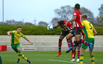 SOUTHAMPTON, ENGLAND - APRIL 05:  Dan Nlundulu  scores (middle) for Southampton FC during the U23's PL2 match between Southampton FC and Norwich City pictured at Staplewood Complex on April 05, 2019 in Southampton, England. (Photo by James Bridle - Southampton FC/Southampton FC via Getty Images)