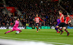 SOUTHAMPTON, ENGLAND - APRIL 05: Shane Long(R) of Southampton opens the scoring during the Premier League match between Southampton FC and Liverpool FC at St Mary's Stadium on April 6, 2019 in Southampton, United Kingdom. (Photo by Matt Watson/Southampton FC via Getty Images)