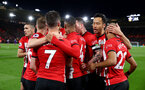 SOUTHAMPTON, ENGLAND - APRIL 05: Players of Southampton celebrate after Shane Long scores during the Premier League match between Southampton FC and Liverpool FC at St Mary's Stadium on April 6, 2019 in Southampton, United Kingdom. (Photo by Matt Watson/Southampton FC via Getty Images)
