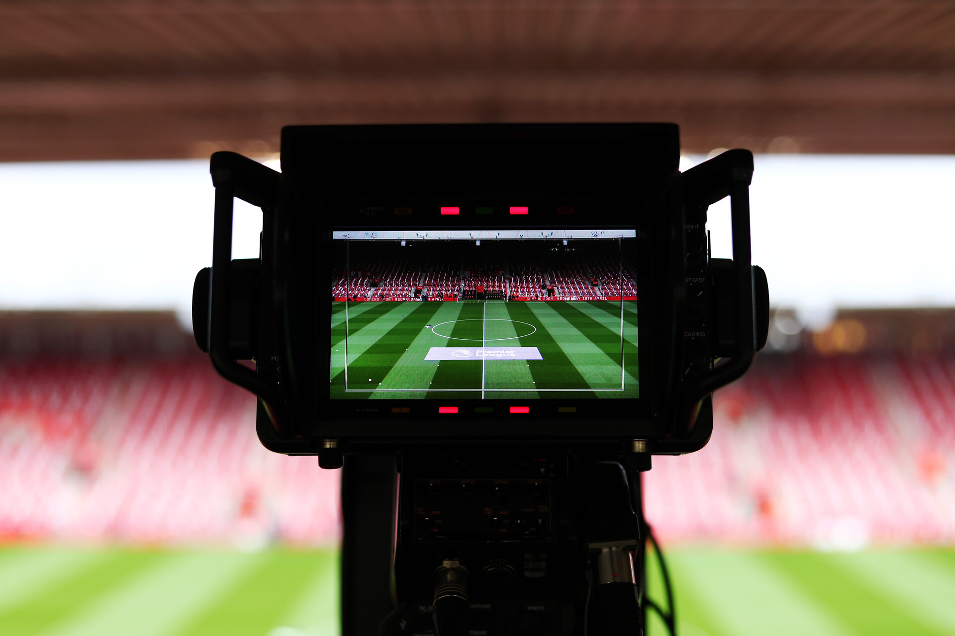 SOUTHAMPTON, ENGLAND - APRIL 05:  General view inside the stadium as a TV camera is showing the pitch ahead of  the Premier League match between Southampton FC and Liverpool FC at St Mary's Stadium on April 05, 2019 in Southampton, United Kingdom. (Photo by Southampton FC/Southampton FC via Getty Images)