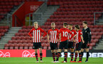 SOUTHAMPTON, ENGLAND - APRIL 10: Players standby during Nathan Tella's injury during the International PL Cup match between Southampton FC and Dinamo Zagreb, pictured at St. Mary's Stadium on April 10, 2019 in Southampton, England. (Photo by James Bridle - Southampton FC/Southampton FC via Getty Images) (Photo by James Bridle - Southampton FC/Southampton FC via Getty Images)