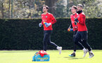 SOUTHAMPTON, ENGLAND - APRIL 11:  L to R Alex McCarthy, Harry Lewis and Fraser Forster during a Southampton FC training session at the Staplewood Campus on April 11, 2019 in Southampton, England. (Photo by Matt Watson/Southampton FC via Getty Images)