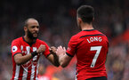 SOUTHAMPTON, ENGLAND - APRIL 13: Shane Long's goal celebration during the Premier League match between Southampton FC and Wolverhampton Wanderers at St Mary's Stadium on April 13, 2019 in Southampton, United Kingdom. (Photo by Chris Moorhouse/Southampton FC via Getty Images)
