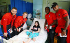 SOUTHAMPTON, ENGLAND - APRIL 17: L to R Angus Gunn, James Ward-Prowse, Michael Obafemi and Mario Lemina as Southampton FC staff and players visit Southampton General Hospital, on April 17, 2019 in Southampton, England. (Photo by Matt Watson/Southampton FC via Getty Images)