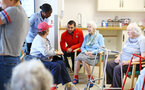 SOUTHAMPTON, ENGLAND - APRIL 17: Charlie Austin of Southampton FC (middle) visits Southampton General Hospital pictured with patients and staff on April 17, 2019 in Southampton, England. (Photo by James Bridle - Southampton FC/Southampton FC via Getty Images)