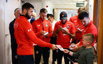 SOUTHAMPTON, ENGLAND - APRIL 17: LtoR Charlie Austin, Callum Slattery, Nathan Redmond, Shane Long of Southampton FC visits Southampton General Hospital pictured with patients and staff on April 17, 2019 in Southampton, England. (Photo by James Bridle - Southampton FC/Southampton FC via Getty Images)