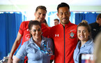 SOUTHAMPTON, ENGLAND - APRIL 17: LtoR Jan Bednarek, Maya Yoshida of Southampton FC visits Southampton General Hospital pictured with patients and staff on April 17, 2019 in Southampton, England. (Photo by James Bridle - Southampton FC/Southampton FC via Getty Images)