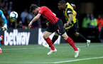WATFORD, ENGLAND - APRIL 23: Shane Long of Southampton heads at goal during the Premier League match between Watford FC and Southampton FC at Vicarage Road on April 23, 2019 in Watford, United Kingdom. (Photo by Matt Watson/Southampton FC via Getty Images)