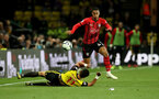 WATFORD, ENGLAND - APRIL 23: Yan Valery of Southampton skips past Adam Masina of Watford during the Premier League match between Watford FC and Southampton FC at Vicarage Road on April 23, 2019 in Watford, United Kingdom. (Photo by Matt Watson/Southampton FC via Getty Images)