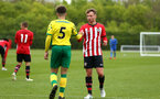 NORWICH, ENGLAND - APRIL 27: Sean Keogh (right) shakes with he opposition after the final whistle is blown for the last game of the season for the U18 Premier League match between Norwich City FC and Southampton FC pictured at Colney Training Ground on April 27, 2019 in Norwich, England. (Photo by James Bridle - Southampton FC/Southampton FC via Getty Images)