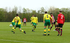 NORWICH, ENGLAND - APRIL 27: Sean Keogh scores (right) during a U18 Premier League match between Norwich City FC and Southampton FC pictured at Colney Training Ground on April 27, 2019 in Norwich, England. (Photo by James Bridle - Southampton FC/Southampton FC via Getty Images)