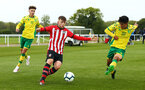 NORWICH, ENGLAND - APRIL 27: Ryan Cluett  (middle) during a U18 Premier League match between Norwich City FC and Southampton FC pictured at Colney Training Ground on April 27, 2019 in Norwich, England. (Photo by James Bridle - Southampton FC/Southampton FC via Getty Images)