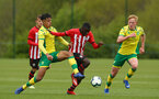 NORWICH, ENGLAND - APRIL 27: Lucas Defice (middle) during a U18 Premier League match between Norwich City FC and Southampton FC pictured at Colney Training Ground on April 27, 2019 in Norwich, England. (Photo by James Bridle - Southampton FC/Southampton FC via Getty Images)