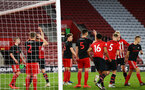 SOUTHAMPTON, ENGLAND - APRIL 29: Alfie Jones scores from a corner (left) during the Premier League 2 match between Southampton FC and Sunderland pictured at St Mary's Stadium on April 29, 2019 in Southampton, England. (Photo by James Bridle - Southampton FC/Southampton FC via Getty Images)