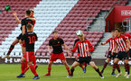 SOUTHAMPTON, ENGLAND - APRIL 29: Christoph Klarer (middle)  scores from a header during the Premier League 2 match between Southampton FC and Sunderland pictured at St Mary's Stadium on April 29, 2019 in Southampton, England. (Photo by James Bridle - Southampton FC/Southampton FC via Getty Images)