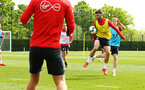 SOUTHAMPTON, ENGLAND - MAY 02:  Shane Long (right) during a Southampton FC training session pictured at Staplewood Complex on May 2, 2019 in Southampton, England. (Photo by James Bridle - Southampton FC/Southampton FC via Getty Images)