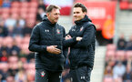 SOUTHAMPTON, ENGLAND - MAY 08: Ralph Hasenhuttl(L) and Danny Röhl during a Southampton FC open training session at St Mary's Stadium on May 08, 2019 in Southampton, England. (Photo by Matt Watson/Southampton FC via Getty Images)