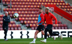 SOUTHAMPTON, ENGLAND - MAY 08: Jack Stephens(L) and Charlie Austin during a Southampton FC open training session at St Mary's Stadium on May 08, 2019 in Southampton, England. (Photo by Matt Watson/Southampton FC via Getty Images)